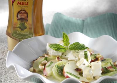 Salade van geitenkaas en fruit met Meli Menthol aromahoning